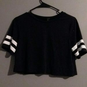 Forever 21 Varsity Striped Black Crop Top